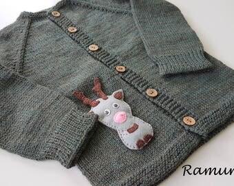 Green merino wool sweater for children / Green hand knitted cardigan for baby - kids/ Children sweater, jacket