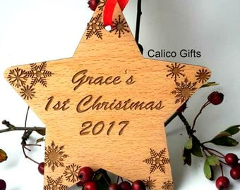 baby's 1st christmas ornament baby's first christmas tree decoration 1st christmas 2017 christmas tree  personalsied  wooden bauble