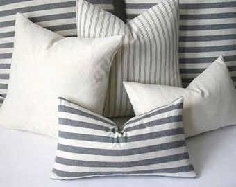 Woven Navy & Cream Striped Pillow cover 12x18 12x21 20x20 22x22 24x24 Euro Sham pillow cover 26x26 28x28 Blue Ticking pillow -JAA1