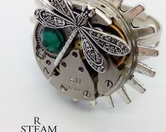 steampunk - steampunk ring - dragonfly - steampunk firefly ring- Febuary birthstone ring - steampunk jewellery - firefly ring - Emerald