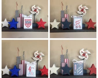Fourth of July (Red) 3x4 Wood Blocks - Independence Day, Patriotic, Made in the USA, Stories of Summer,4th of July, A Night to Remember,