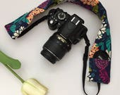 Navy and Teal Floral Camera Strap Cover, Floral Camera Strap Cover, Navy Camera Strap, Padded Camera Strap, Gift for Her
