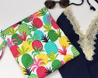 Pineapple Wet Bag, Swimsuit bag, Waterproof Bikini Bag, Teal Toiletry Bag, Cloth Diaper Bag, Summer Swim Bag, Pink Beach Bag, Gift Under 25