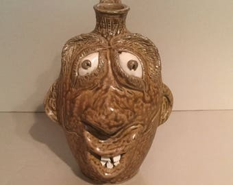 Face Jug / Folkart  - Traditional Pottery - Seagrove NC /  Collectible Ceramic Sculpture / Home Decor/ Whiskey Jug