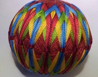 Japanese Temari Ball Blue, Green, Yellow, Pink design