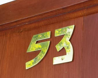"Brass Arts and Crafts  house numbers -  75mm/3"" high cutout. handmade in polished or hammered finish g"