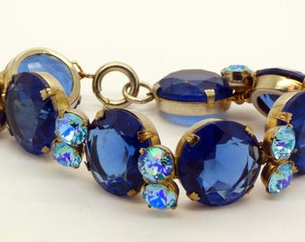 Vintage Glass Headlight Rhinestone Bracelet, Deep Blue and Aquamarine