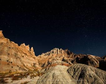 South Dakota, Badlands, Badlands Print, Badlands Night, Night Sky Badlands, Photo South Dakota, Night Landscape, Nature Night, Night Sky