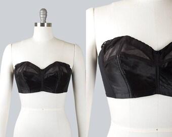 Vintage 1950s Bullet Bra | 1950s LADY MARLENE Strapless Black Satin Mesh Bustier (32C/34C)