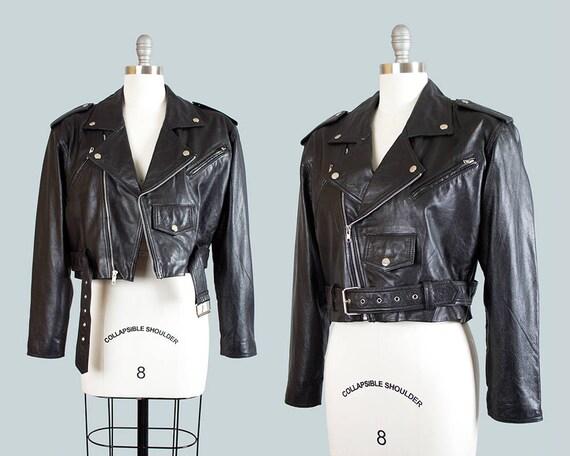 Vintage 1990s Leather Jacket | 90s Cropped Black Leather Motorcycle Punk Moto Jacket (medium/large)
