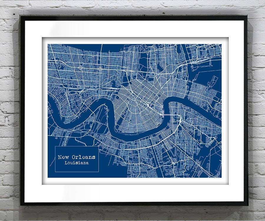 Holiday Sale New Orleans Louisiana Blueprint Map Poster