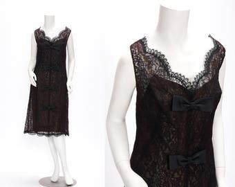 Vintage 1960s Black Lace Sheath Dress with Bows • Revival Vintage Boutique