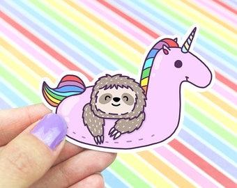 Moving SALE Sloth Sticker, Cute Unicorn Sticker, Rainbow Sticker,Skateboard Sticker, Decorative Stickers ,Pool Party Sticker, Kawaii