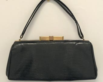 Late 1950s/early 1960s artificial leather look black handbag