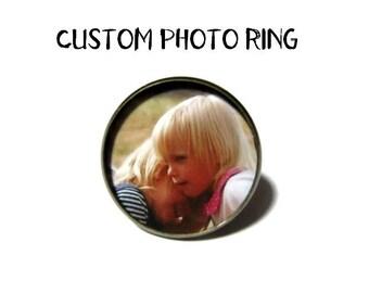 Custom Photo Ring - Picture Ring - Photo Jewelry 26mm Photo -bronze  Setting - Mothers Day Mom Mimi Nana Grandma