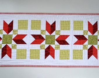 Poinsettia Quilted Table Runner for Sale, modern patchwork, Table Decor, holiday, seasonal, festive red white green