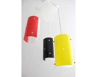 Vintage Ceiling Light // 1950's Italian Lighting // 50's Retro Ceiling Light // Pendant Lamps 3 Ceiling Fixture Chandelier