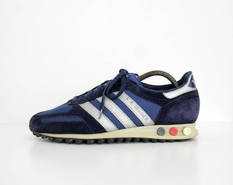 Vintage Sneakers // 1980s Adidas L.A. TRAINER Navy Sneakers Shoes // Made in Yugoslavia - Croatia