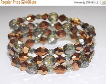 20%OFF Iridescent Green Czech Glass Copper Czech Glass Wrap Bracelet