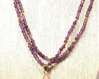 Natural Amethyst Necklace with Rose Quartz Pendant