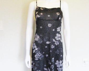 25% off SALE Semi Sheer Floral Shimmer 90s Dress