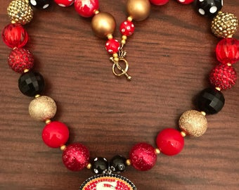 San Francisco 49ers Sports inspired Football NFL Bubble Gum Necklace (Adult/Teen)