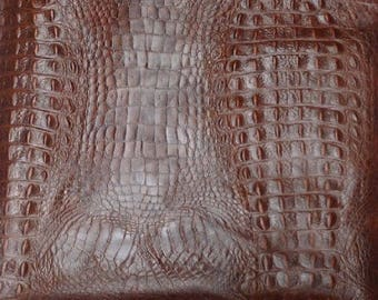 EMB40 Leather Cow Hide Cowhide Craft Fabric Brown Embossed Alligator 26 sq ft    Free Shipping !!!