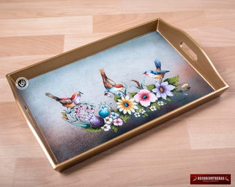 """Hand-crafted Serving tray from Peru """"Birds in Spring"""" - Glass Wood Rectangular Serving Tray - Gold serving trays with handles - Kitchen tray"""