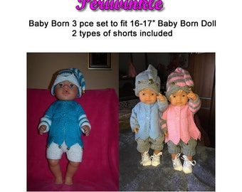 Baby Born Knitting Pattern PERI WINKLE fits 16 to 17 inch dolls (pattern only)