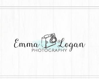 ON SALE Hand Drawn Premade Camera Photography Watermark + Logo with Watercolor - L035