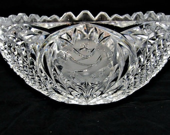 Lead Crystal Bowl Etched Roses Large