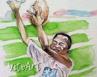 African American Boy Football Sports Child Art Watercolor Digital Print Digital Download Instant Download