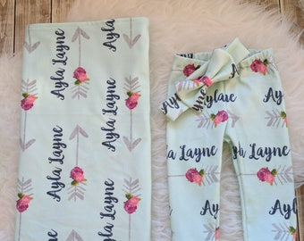 Personalized baby name leggings, blanket, and baby  headband: newborn gift set baby customized name leggings baby gift