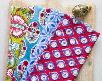 Block print cloth napkins - set of 4 - mixed block prints - Block printed fabric - 100% cotton dinner napkins - wedding - summer napkins