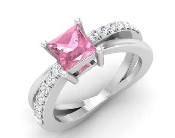 Pink Tourmaline Engagement Ring, 14K White Gold, Anniversary Ring, Pink Gemstone Ring,Princess Tourmaline Ring, SI Diamond Ring, Rose Gold