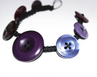 Crescendo Decrescendo Purple Button Bracelet - Critterfly - gift idea, buttons, jewellery, handmade, birthday, present