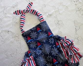 Fourth Of July Red White & Blue Ruffled Bubble Romper - Patriotic - Sailboats - Fireworks - Stripes - Infant Toddler Child - Sunsuit