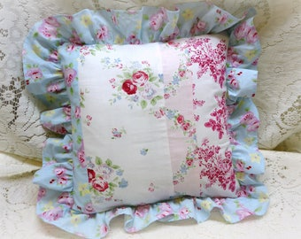 "Shabby Chic Ruffled 14"" Square Pillow"