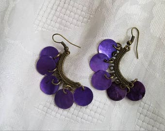 Antique brass chandelier earrings with mussel shells one set white  second set purple