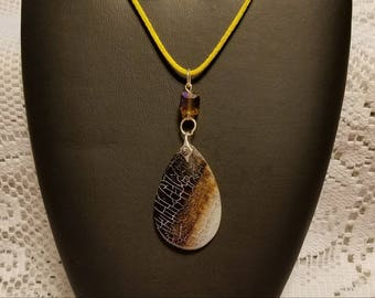 Reptile Like Pendant With Gold Square  Bead Necklace Jewelry One Of A Kind