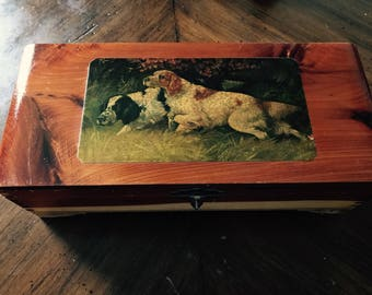 Vintage cedar wood box with Hunting Dogs