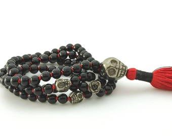 Black Obsidian & Pyrite Skull Mala, 108 bead, hand knotted with hand-made silk tassel, 108 bead, custom