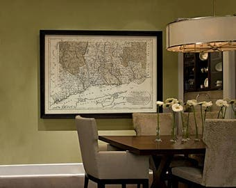 Connecticut map 1796 Historical map of Connecticut Restoration Hardware Style Map CT map Print Large wall map Home office corporate decor