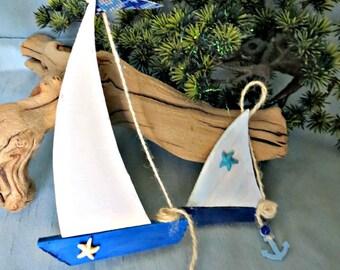 Wood sail boat ornaments_set of 2 sail boats_beach decor