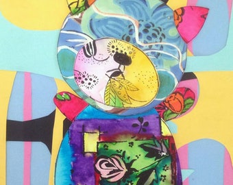 Teddy Bear-  Mixed Media original by Samantha Thompson