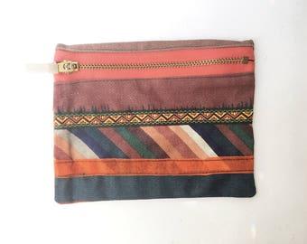 Rustic Brown Bohemian Textile Purse - fabric zip purse - money pouch - makeup bag - hippy patterned zip bag - pens - make-up bag - any age