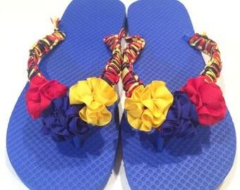 Handcrafted Tricolor Flag Embellished Flip Flops