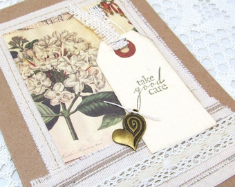 Vintage Botanical Card - Burlap and Lace Card - Take Good Care - Kraft Card - Canvas Card - Blank Card - Rustic Card - Ivory Lace