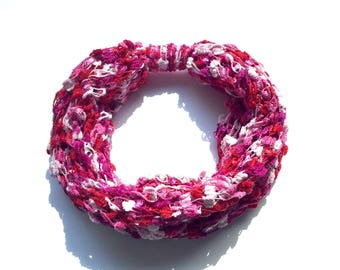 Pink/red knit infinity scarf, circle scarf