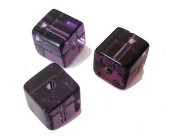 10 x 4mm AMETHYST glass cube beads